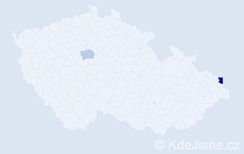 Příjmení: 'Bozóová', počet výskytů 2 v celé ČR