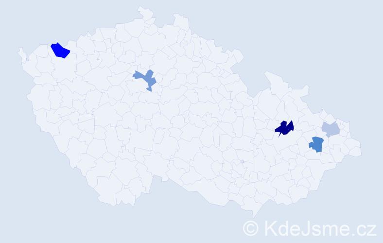 Příjmení: 'Bajziková', počet výskytů 5 v celé ČR