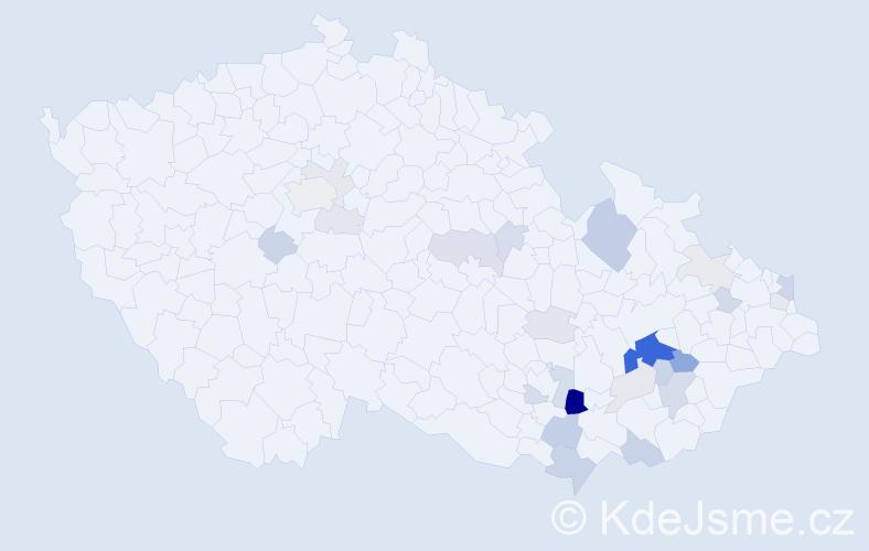 Příjmení: 'Cagášek', počet výskytů 75 v celé ČR