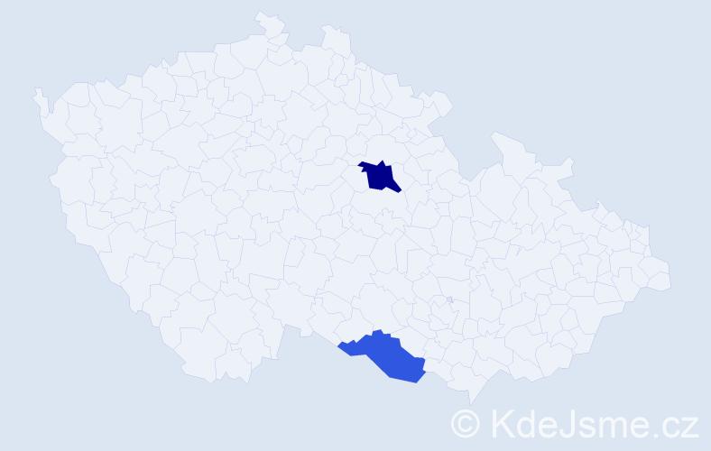 Příjmení: 'Kišantal', počet výskytů 3 v celé ČR