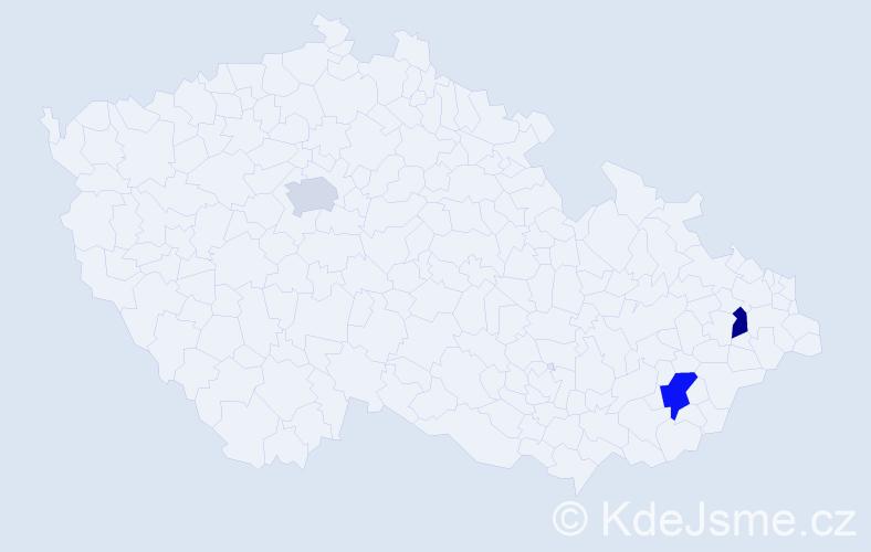 Příjmení: 'Čechálová', počet výskytů 7 v celé ČR