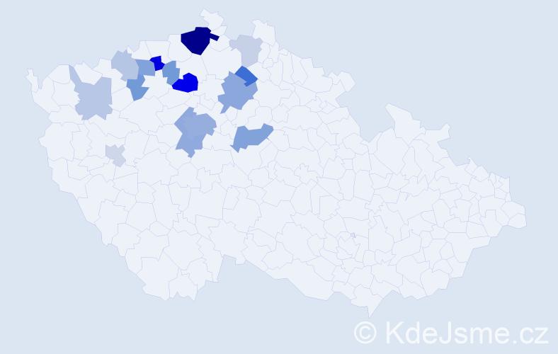 Příjmení: 'Kybal', počet výskytů 42 v celé ČR