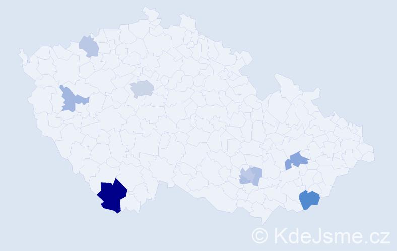 Příjmení: 'Assmann', počet výskytů 22 v celé ČR