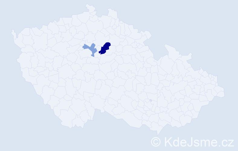 Příjmení: 'Bidziliová', počet výskytů 3 v celé ČR
