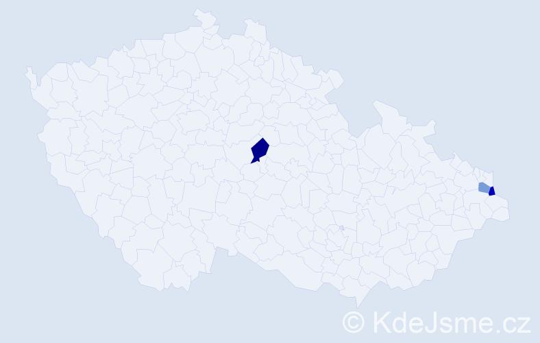Příjmení: 'Beňuška', počet výskytů 3 v celé ČR