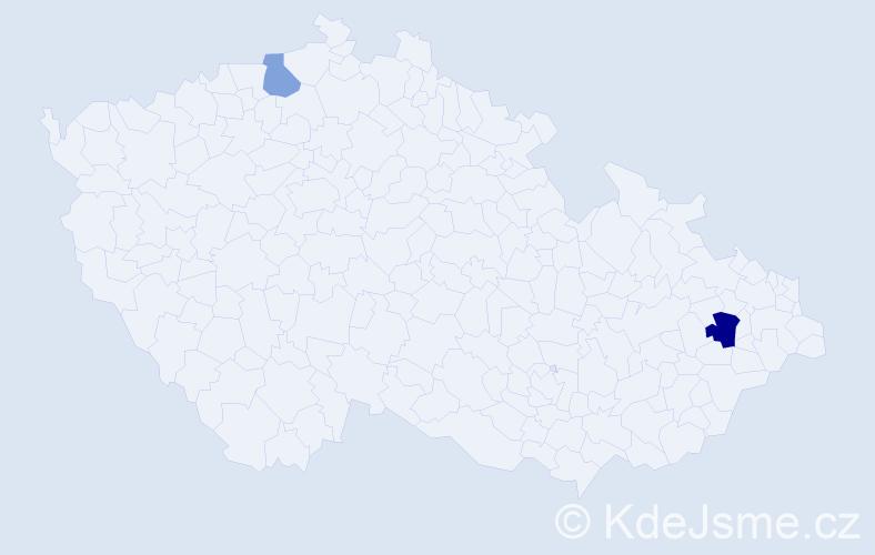 Příjmení: 'Kralj', počet výskytů 3 v celé ČR