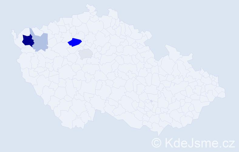 Příjmení: 'Eibner', počet výskytů 13 v celé ČR