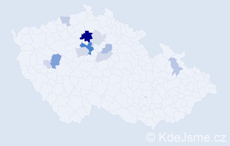 Příjmení: 'Klučina', počet výskytů 40 v celé ČR