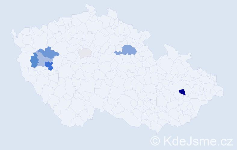 Příjmení: 'Hábrová', počet výskytů 19 v celé ČR