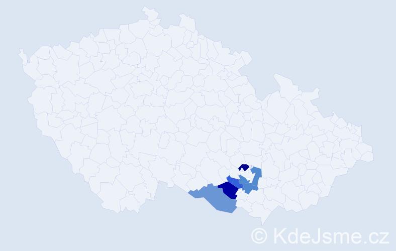 Příjmení: 'Hellar', počet výskytů 18 v celé ČR