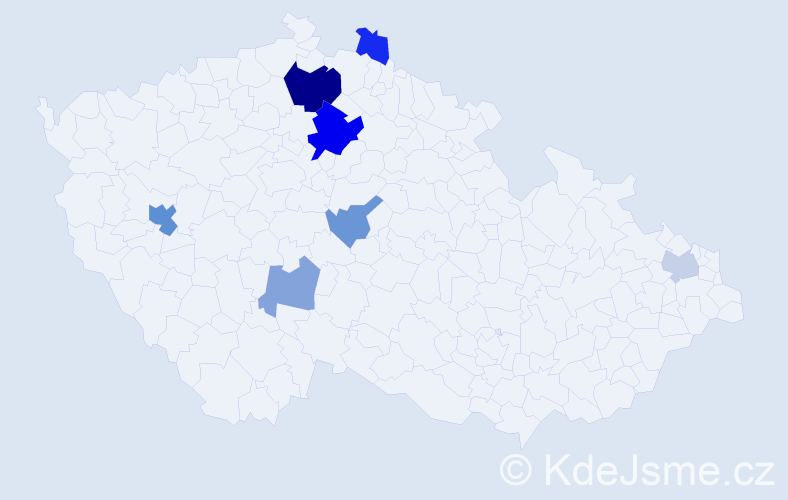 Příjmení: 'Dányi', počet výskytů 15 v celé ČR