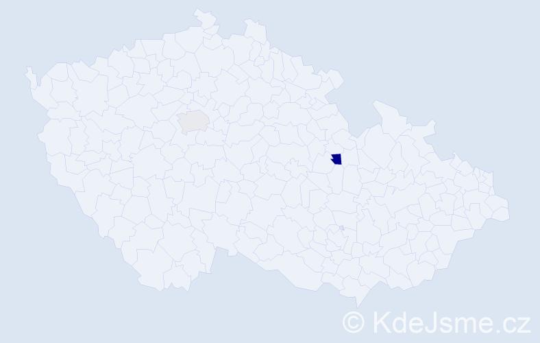 Příjmení: 'Fingralová', počet výskytů 5 v celé ČR