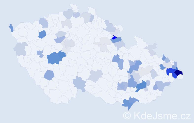 Příjmení: 'Labuda', počet výskytů 199 v celé ČR
