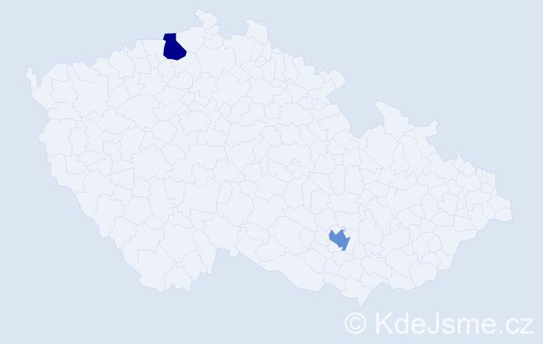 """Příjmení: '""""Le Ret""""', počet výskytů 2 v celé ČR"""