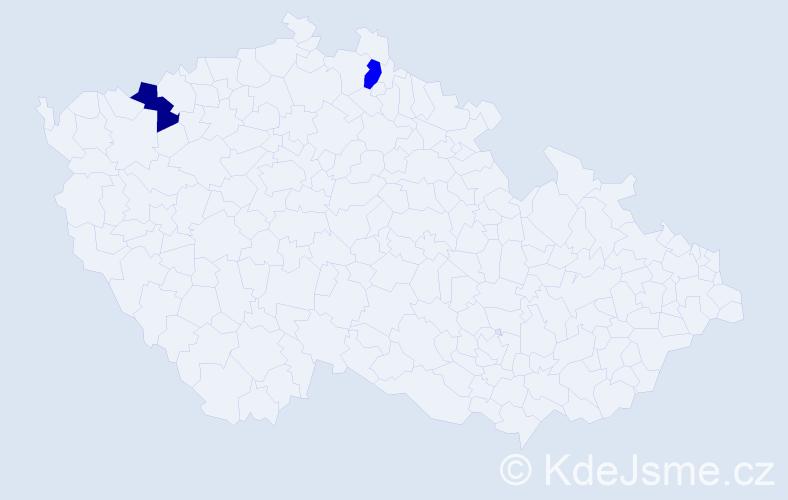 Příjmení: 'Jaeckel', počet výskytů 2 v celé ČR