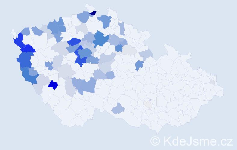 Příjmení: 'Kubr', počet výskytů 238 v celé ČR