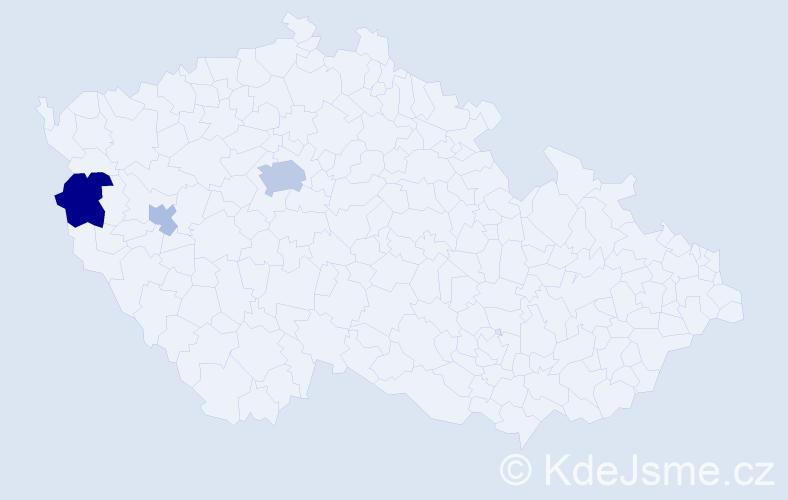 Příjmení: 'Gesl', počet výskytů 7 v celé ČR