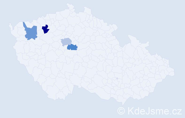 Příjmení: 'Čeklovská', počet výskytů 6 v celé ČR