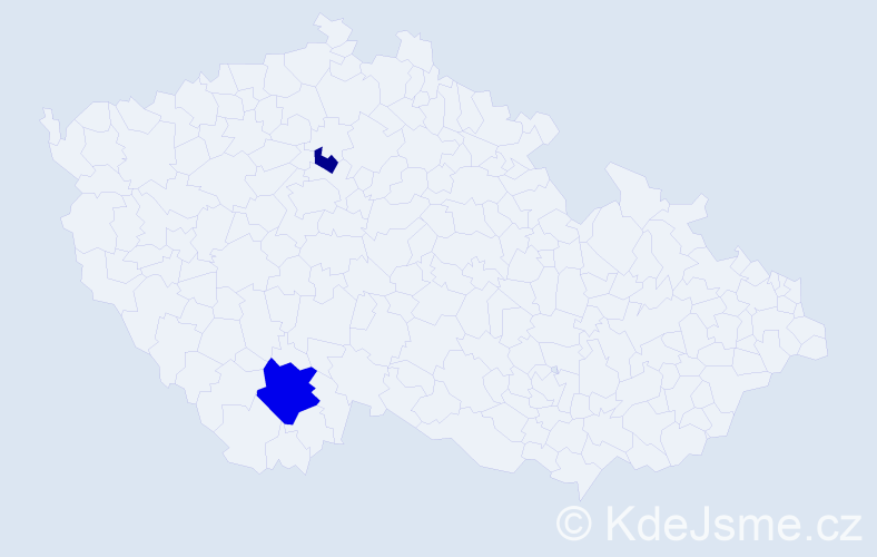 Příjmení: 'Čouza', počet výskytů 4 v celé ČR