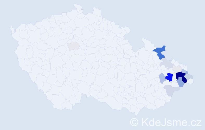 Příjmení: 'Čuboková', počet výskytů 44 v celé ČR