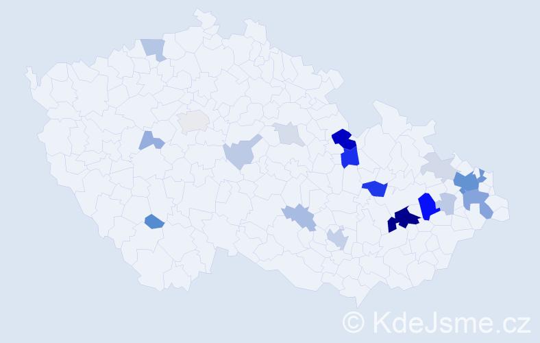 Příjmení: 'Gelová', počet výskytů 67 v celé ČR