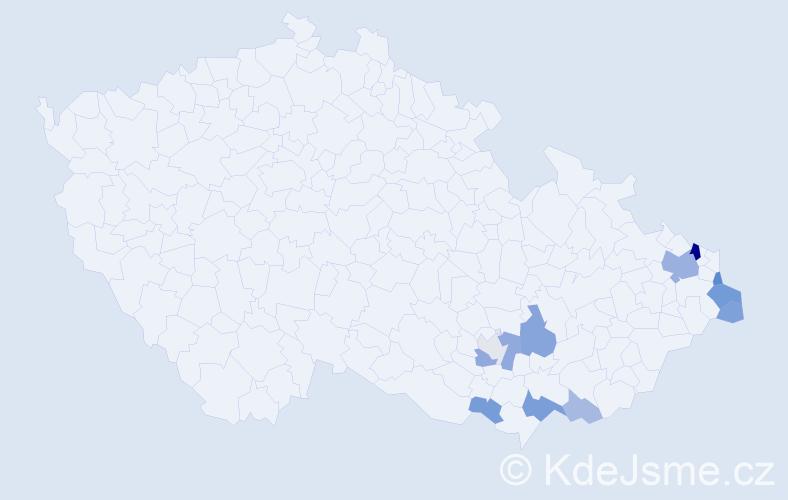 Příjmení: 'Kubinská', počet výskytů 27 v celé ČR