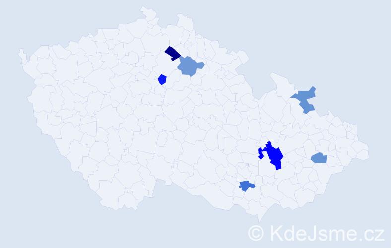 Příjmení: 'Balvan', počet výskytů 10 v celé ČR