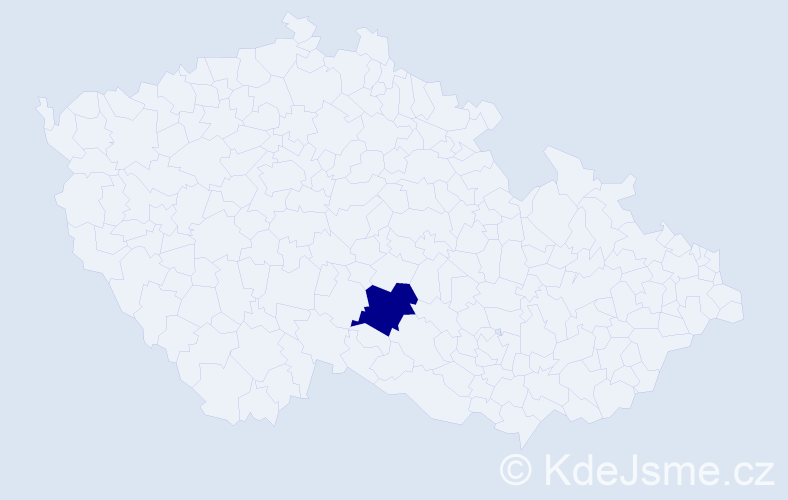 """Příjmení: '""""Habrová Pražáková""""', počet výskytů 1 v celé ČR"""