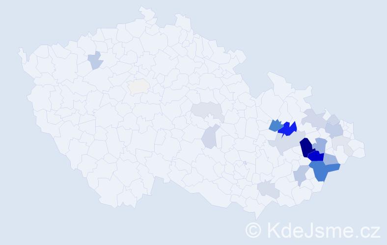 Příjmení: 'Kořístka', počet výskytů 73 v celé ČR