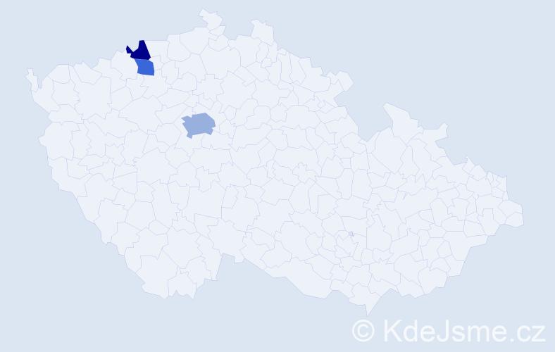 Příjmení: 'Barníková', počet výskytů 5 v celé ČR