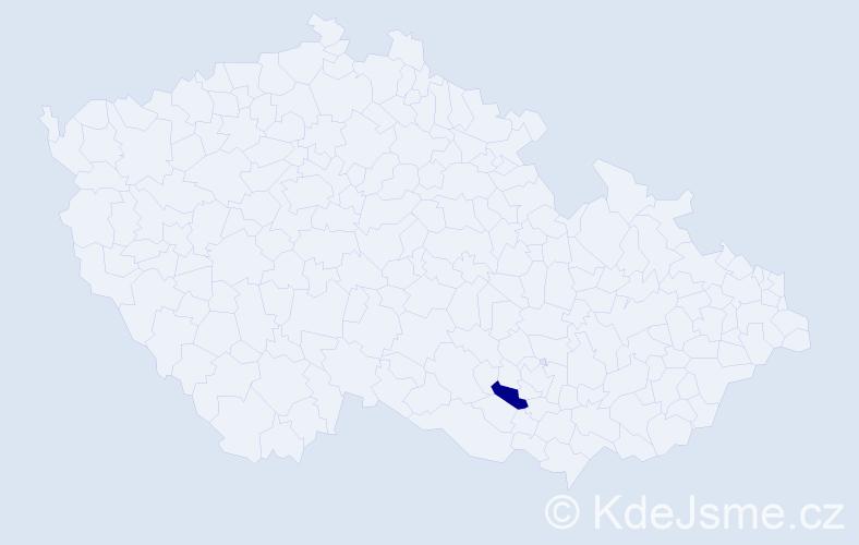 """Příjmení: '""""De Gasperisová""""', počet výskytů 1 v celé ČR"""