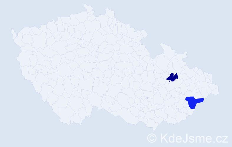 Příjmení: 'Jakubko', počet výskytů 3 v celé ČR