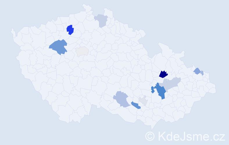 Příjmení: 'Baslíková', počet výskytů 37 v celé ČR