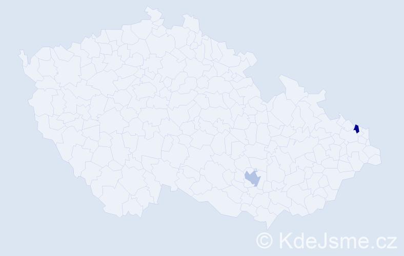 Příjmení: 'Demjenová', počet výskytů 2 v celé ČR