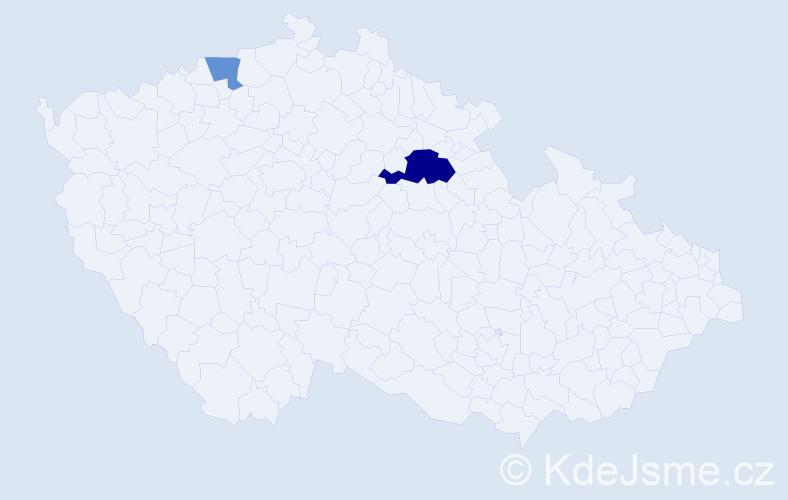 Příjmení: 'Idunk', počet výskytů 4 v celé ČR