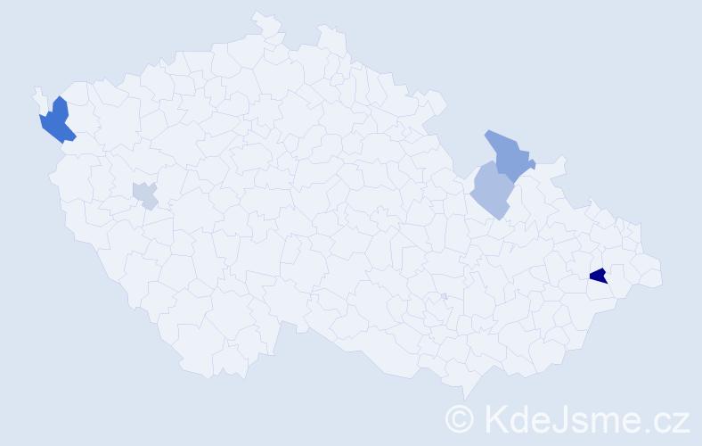 Příjmení: 'Hurtošová', počet výskytů 8 v celé ČR