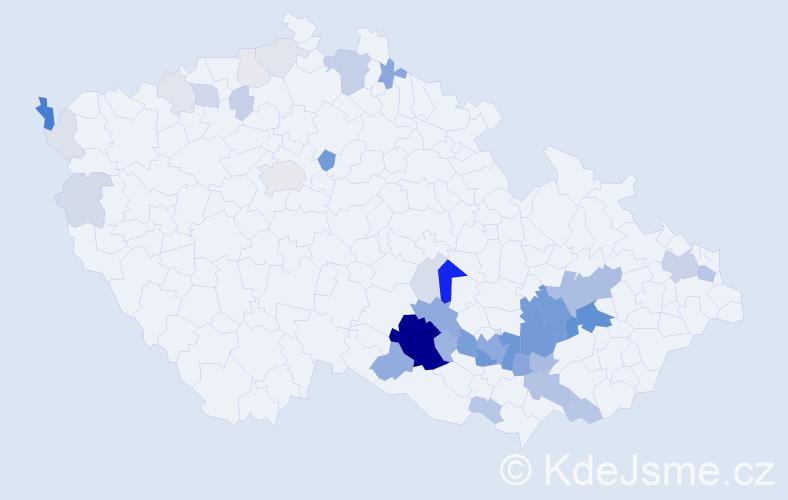 Příjmení: 'Jurda', počet výskytů 161 v celé ČR