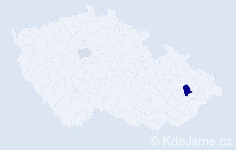 Příjmení: 'Katana', počet výskytů 6 v celé ČR