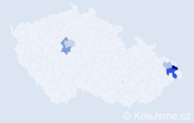 Příjmení: 'Czap', počet výskytů 10 v celé ČR