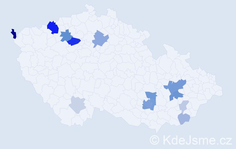 Příjmení: 'Andráši', počet výskytů 36 v celé ČR