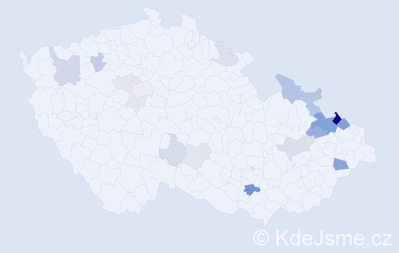 Příjmení: 'Engliš', počet výskytů 45 v celé ČR