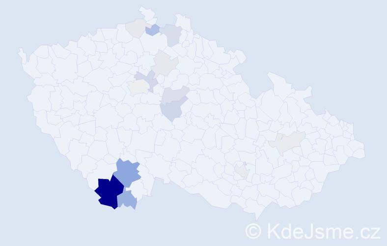 Příjmení: 'Gallistlová', počet výskytů 58 v celé ČR