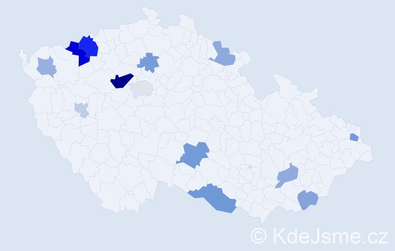 Příjmení: 'Kubovič', počet výskytů 28 v celé ČR