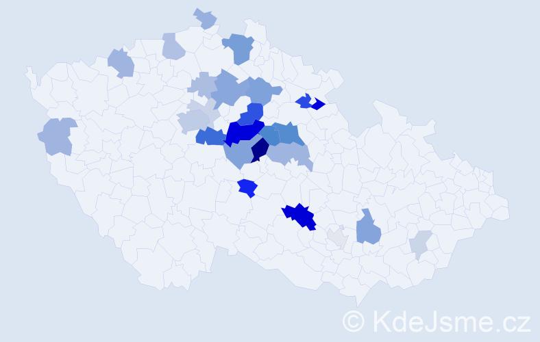 Příjmení: 'Crkal', počet výskytů 79 v celé ČR