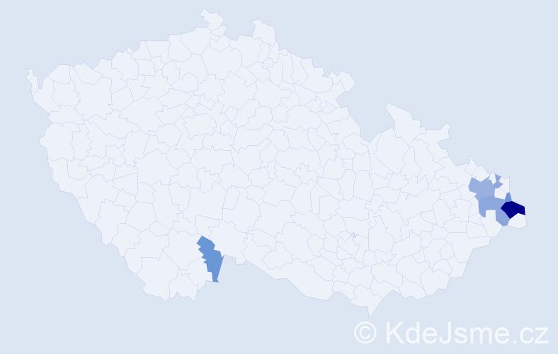 Příjmení: 'Górný', počet výskytů 15 v celé ČR