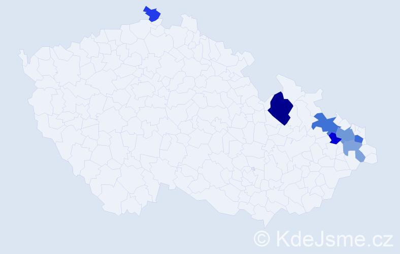 Příjmení: 'Biková', počet výskytů 13 v celé ČR