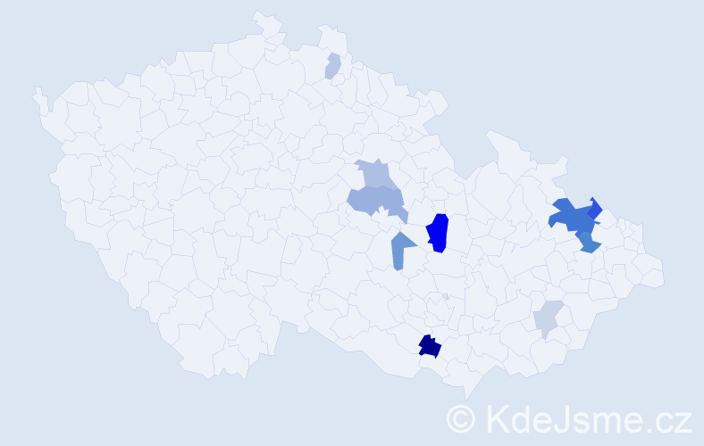 Příjmení: 'Bieláková', počet výskytů 24 v celé ČR