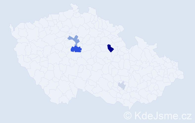 Příjmení: 'Ižák', počet výskytů 5 v celé ČR