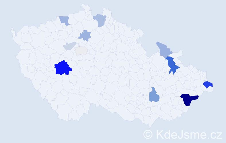 Příjmení: 'Halko', počet výskytů 34 v celé ČR
