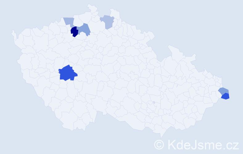 Příjmení: 'Čilová', počet výskytů 10 v celé ČR